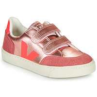 Chaussures Fille Baskets basses Veja SMALL-V-12-VELCRO Doré / Rose