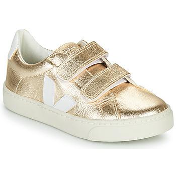 Chaussures Fille Baskets basses Veja SMALL ESPLAR VELCRO Doré / Blanc