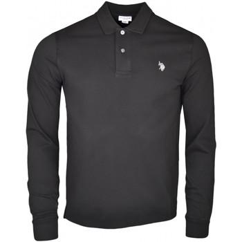 Vêtements Homme Polos manches longues U.S Polo Assn. Polo manches longues U.S Polo noir logo argenté pour homme Noir