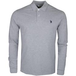 Vêtements Homme Polos manches longues U.S Polo Assn. Polo manches longues U.S Polo gris logo bleu marine pour homme Gris