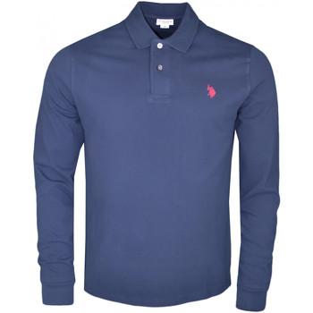 Vêtements Homme Polos manches longues U.S Polo Assn. Polo manches longues U.S Polo bleu marine logo rouge pour homme Bleu