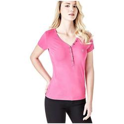 Vêtements Femme T-shirts manches courtes Guess T-Shirt Serafino Rose Fushia W82P24 Rose
