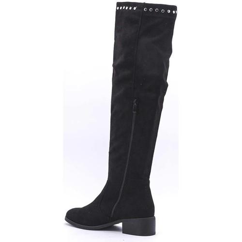 Bottes Noir Chaussures Femme  Cendriyon  cuissardes  femme  noir
