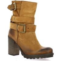 Chaussures Femme Bottines Pao Boots cuir nubuck Cognac