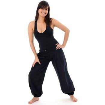 Vêtements Pantalons fluides / Sarouels Fantazia Pantalon droit boule equitable Noir