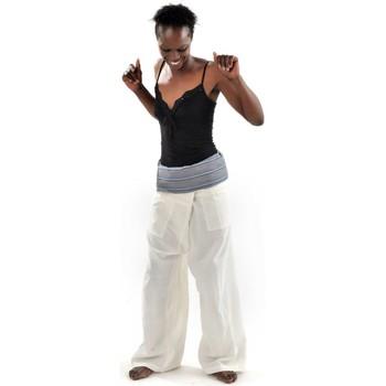 Vêtements Femme Pantalons Fantazia Pantalon Fisherman Thai Creme et bleu Blanc / écru