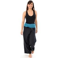 Vêtements Femme Pantalons Fantazia Pantalon pecheur Thai noir rayure turquoise Noir rayure turquoise