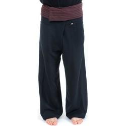 Vêtements Pantalons fluides / Sarouels Fantazia Pantalon Thai noir rayures noires Noir