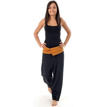 Vêtements Femme Pantalons fluides / Sarouels Fantazia Pantalon Fisherman Thailande Noir rayure orange Noir