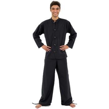 Vêtements Homme Chemises manches longues Fantazia Chemise noire Rodi coco et col mao Noir