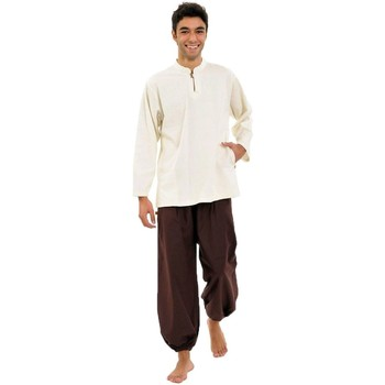 Vêtements Homme Chemises manches longues Fantazia Chemise creme Gurung col mao Blanc / écru