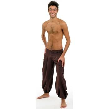 Vêtements Homme Pantalons fluides / Sarouels Fantazia Pantalon ethnique marron-chocolat Herza Marron