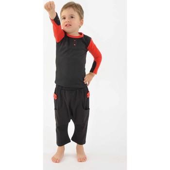 Vêtements Fille Pantalons fluides / Sarouels Fantazia Pantalon sarouel enfant coton bio equitable Noir rouge Noir