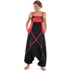 Vêtements Femme Combinaisons / Salopettes Fantazia Sarouel combinaison ethnique femme Neena noire et rouge Noir
