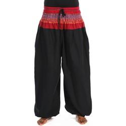 Vêtements Pantalons fluides / Sarouels Fantazia Pantalon sarouel elastique bouffant noir sari rouge Maka Noir