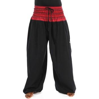 Vêtements Femme Pantalons fluides / Sarouels Fantazia Pantalon sarouel elastique grande taille Khaita Noir