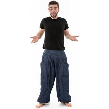 Vêtements Homme Pantalons fluides / Sarouels Fantazia Sarouel baggy aladin blue jean et coton noir homme femme Bleu