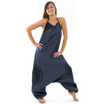 Vêtements Femme Grace & Mila Fantazia Combi sarouel femme blue jean et coton noir street chic Bleu