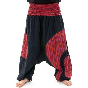 Vêtements Homme Pantalons fluides / Sarouels Fantazia Sarouel grande taille elastique noir rouge Pataya Noir