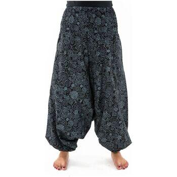 Vêtements Femme Pantalons fluides / Sarouels Fantazia Sarouel femme elastique spirale etnique chic hiver Noir