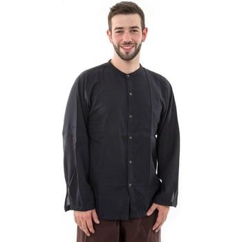 Vêtements Homme Chemises manches longues Fantazia Chemise coton leger noir boutons noix de coco Harree Noir