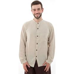 Vêtements Homme Chemises manches longues Fantazia Chemise boutons en coco coton leger chanvre Lee Blanc / écru