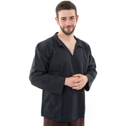 Vêtements Homme Chemises manches longues Fantazia Chemise col relax coton comme du lin noir Noir