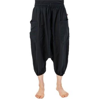 Vêtements Homme Pantacourts Fantazia Sarouel pantacourt grande taille coton leger noir uni Noir
