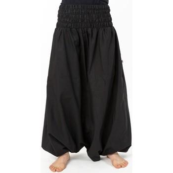 Vêtements Femme Pantalons fluides / Sarouels Fantazia Sarouel ethnique grande taille mixte coton doux noir Noir