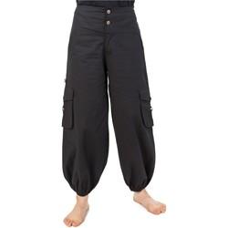 Vêtements Femme Pantalons fluides / Sarouels Fantazia Pantalon bouffant aladin baggy baroudeuse noir uni Suwal Noir