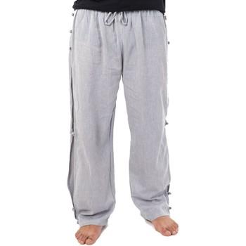 Vêtements Homme Pantalons fluides / Sarouels Fantazia Pantalon japonais relax zen mixte gris Gris chiné foncé