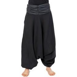 Vêtements Pantalons fluides / Sarouels Fantazia Sarouel elastique mixte noir gris rayures coton leger Haku Noir