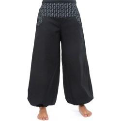 Vêtements Femme Pantalons fluides / Sarouels Fantazia Pantalon bouffant balloon femme coton epais Lellah Noir