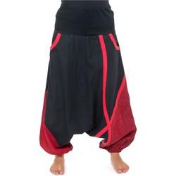 Vêtements Pantalons fluides / Sarouels Fantazia Sarouel bouffant femme bandeau elastique maternite Moon Noir