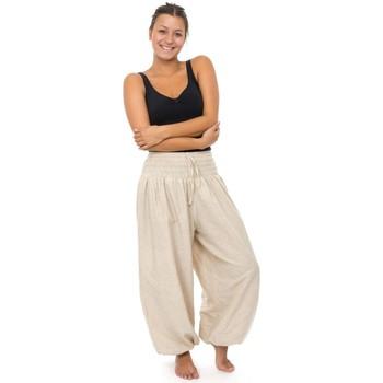 Vêtements Femme Pantalons fluides / Sarouels Fantazia Pantalon elastique bouffant epais chanvre Kalinko Blanc / écru
