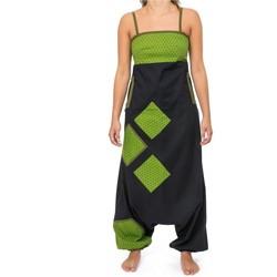 Vêtements Femme Combinaisons / Salopettes Fantazia Combinaison saroual patchwork geometric star Jina noir vert Noir