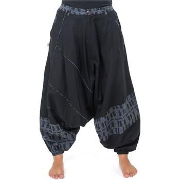 Vêtements Pantalons fluides / Sarouels Fantazia Pantalon sarouel mixte urban ethnique noir gris bleu Naheda Noir