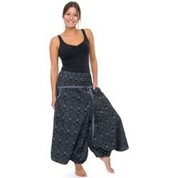 Vêtements Femme Pantalons fluides / Sarouels Fantazia Sarouel jupe pantacourt femme ceinture elastique Kolami Noir