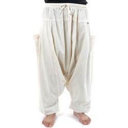 Vêtements Pantalons fluides / Sarouels Fantazia Pantalon sarwel Nepal zen homme femme coton leger creme Tara Blanc / écru