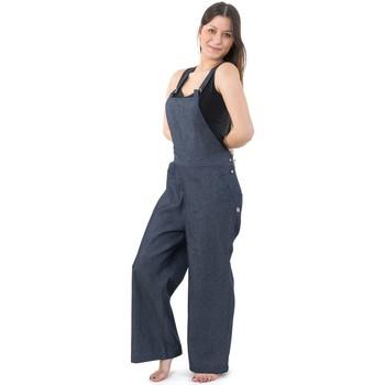 Vêtements Femme Combinaisons / Salopettes Fantazia Salopette femme basique blue Jean denim epais Jinsa Bleu