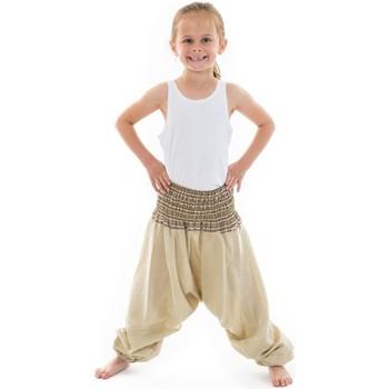 Vêtements Fille Pantalons fluides / Sarouels Fantazia Pantalon enfant aladin ete creme chanvre Mini Ganesh Blanc / écru
