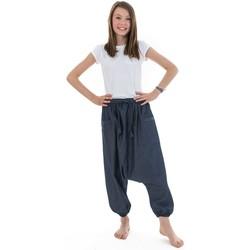 Vêtements Fille Pantalons fluides / Sarouels Fantazia Sarouel bermuda ado jean leger urban babacool mixte Bleu