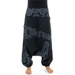 Vêtements Femme Pantalons fluides / Sarouels Fantazia Sarouel ethnic graphic noir et gris nepalese snow Vesna Noir