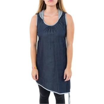 Vêtements Femme Tuniques Fantazia Tunique robe courte jean denim sans manche capuche de lutin Gi Bleu