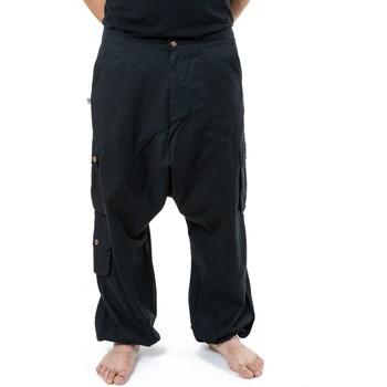 Vêtements Pantalons fluides / Sarouels Fantazia Pantalon sarouel baggy droit homme femme noir uni Sarul Noir