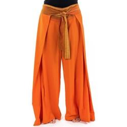 Vêtements Femme Pantalons fluides / Sarouels Fantazia Pantalon ethnique leger ceinture sari brillant orange Orih Orange