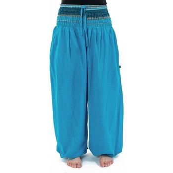 Vêtements Femme Pantalons fluides / Sarouels Fantazia Pantalon sarouel baba cool chic turquoise sari brillant Manha Bleu