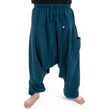Vêtements Pantalons fluides / Sarouels Fantazia Pantalon sarwal zen Nepal homme femme coton leger bleu petrole Bleu