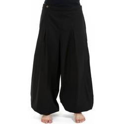 Vêtements Femme Pantalons fluides / Sarouels Fantazia Pantalon ethnique large bouffant droit femme noir uni Damh Noir