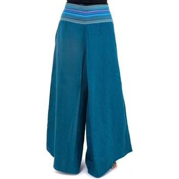 Vêtements Homme Pantalons Fantazia Pantalon ethnique leger chine et rayures Nausika Bleu clair chiné noir et rayures turquoises
